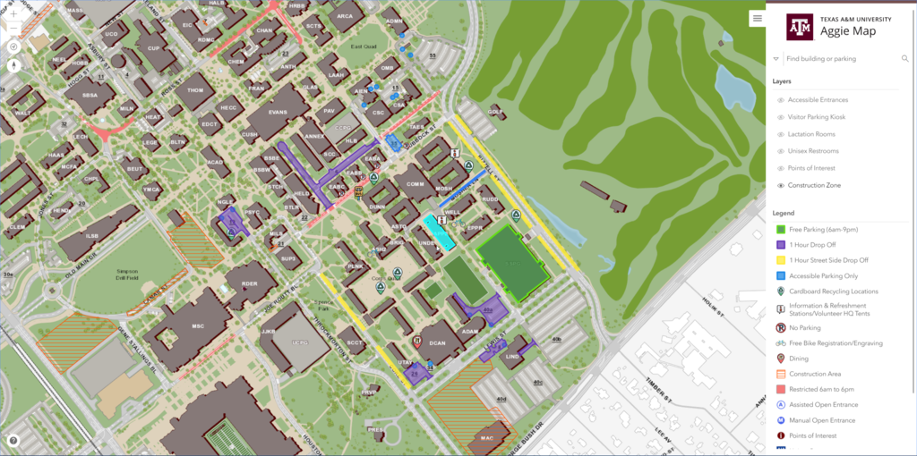 Aggie Map Texas A M University